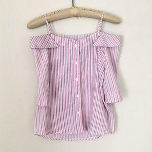 Tops - Pink Striped Cold Shoulder Off Shoulder Blouse